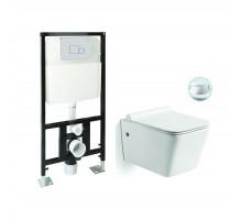 SL-5004 + SL-01 Комплект унитаз подвесной, безободковый, сиденье м/лифт + Инсталляция с кнопкой (хром) SANTILINE
