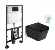 SL-5004MB + SL-04 Комплект унитаз подвесной, безободковый, мат. чёрный сиденье м/лифт + Инсталляция с кнопкой (чёрная матовая) SANTILINE