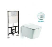 SL-5007 + SL-01 Комплект унитаз подвесной, безободковый, сиденье м/лифт + Инсталляция с кнопкой (хром) SANTILINE