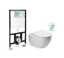 SL-5018 + SL-01 Комплект унитаз подвесной, безободковый, сиденье м/лифт + Инсталляция с кнопкой (хром) SANTILINE