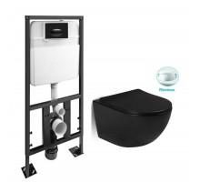 SL-5018MB + SL-03 Комплект унитаз подвесной, безободковый, мат. чёрный сиденье м/лифт + Инсталляция с кнопкой (чёрная матовая) SANTILINE