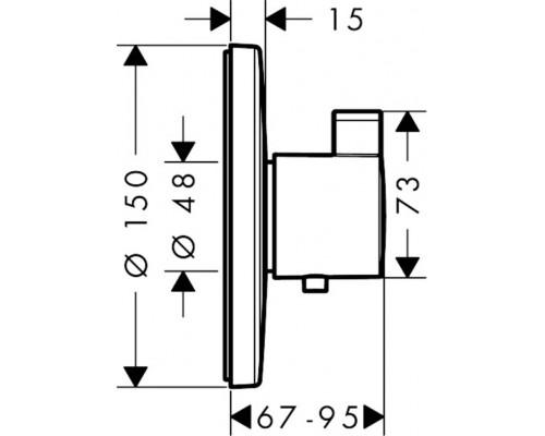 15756000 Термостат Ecostat S High Flow, наружная часть HANSGROHE