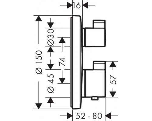 15758000 Термостат Ecostat S с запорн переключ.вентилем HANSGROHE