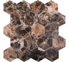 Hexagon Dark Emperador Polished 63*63 мозаика из мрамора 282*260 Starmosaic