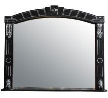 АЛЕКСАНДРИЯ 100 Шкаф зеркальный черный с серебряной патиной ATOLL