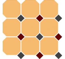 Octagon 4421 OCT14+20-A White OCTAGON 16/Black 14 + Brick Red 20 Dots 30*30 см керамогранит наборный TOP CER